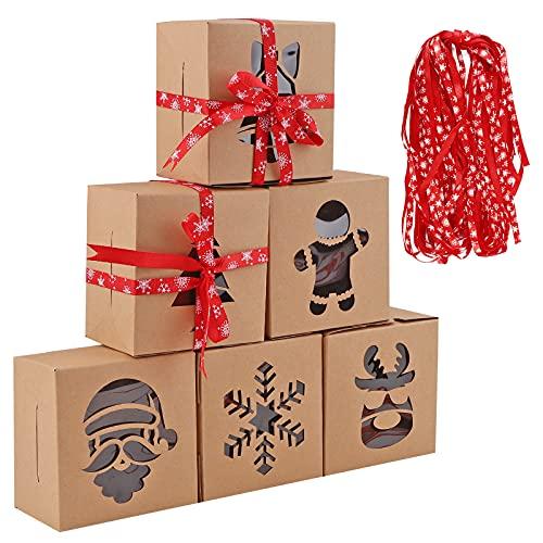 24 pezzi Scatole per dolci natalizi Scatole di biscotti natalizi con finestra 6 stili scatole per torte Kraft Scatola da forno di Natale con 24 Nastro di Natale Scatole regalo di ciambelle 10x10x6cm