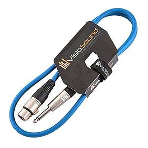 XLR 3-Polig Weiblich Buchse auf 6,3mm Mono Jack Klinke/Mikrofon/Signalkabel / 6 Farben 1m Blau