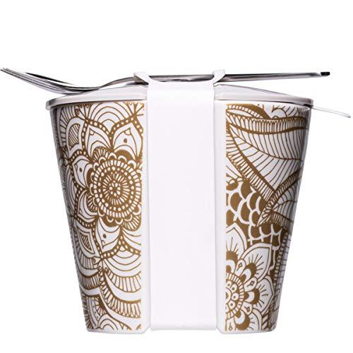 Mahlwerck Snack2Go - Fiambrera de porcelana para llevar aperitivos, diseño bohemio en oro, 550 ml