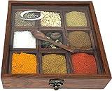 Bhartiya Handicrafts Masala Dabba Gewürzbox aus Holz, Mehrzweck-Tischplatte, Glasdeckel auf der Oberseite, für trockene Früchte, Box mit Löffel, handgefertigte indische Gewürzregale (9 Behälter)