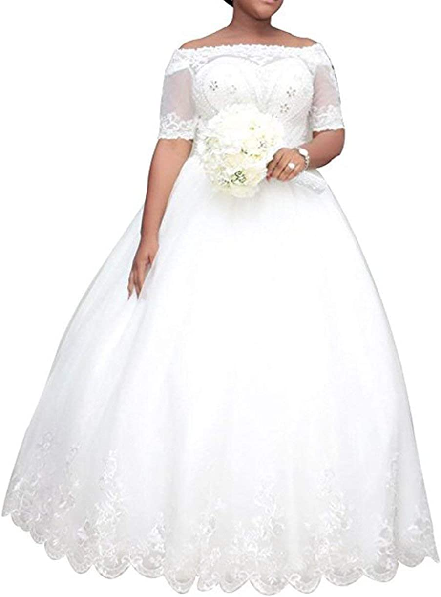 Princess Women's Plus Size Wedding Dresses for Bride 2020 Lace Wedding Ball Gown Sleeve Bridal Dress