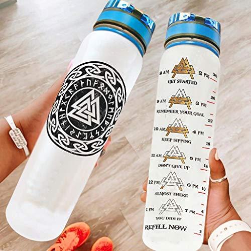 Tentenentent Botella de agua deportiva con correa de transporte, para gimnasio, color blanco, 1000 ml