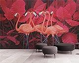 BLZQA Fotomurales Papel pintado tejido no tejido Murales moderna Flamenco de hoja roja Arte de la pared Decoración de Pared decorativos 200x150 cm-4 panelen