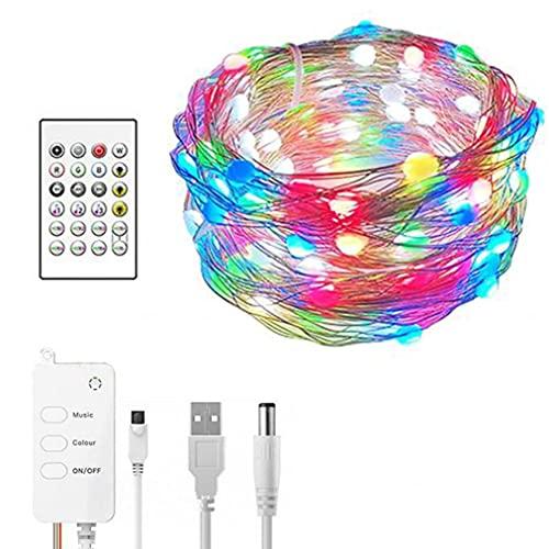 Luces de cadena LED para decoración de vacaciones 20M RGB de alambre de cobre Lámparas de hadas de control remoto USB Luz de noche LED para interiores