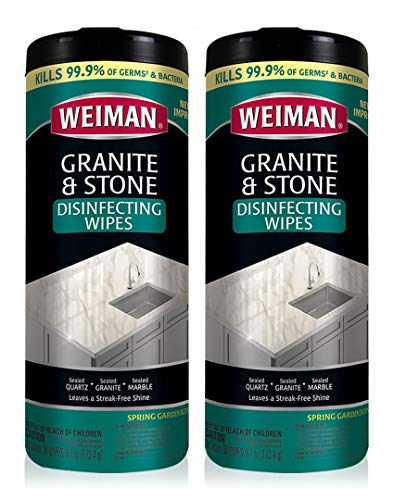 Weiman Granite Disinfectant Wipes - 30 Wipes - 2 Pack - Disinfect Clean and Shine Sealed Granite Marble Quartz Slate Limestone Soapstone Tile Countertops