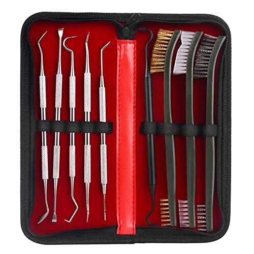 A caccia 3 spazzole e 6pickSeachGuncleaningKitincludes 3 spazzole e 6 scelte.3 tipi di spazzole sono in ottone, acciaio e nylon.5 Le prelievi per la pulizia della pistola sono materiale in acciaio inossidabile e uno è materiale in nylon. Spazzole mul...