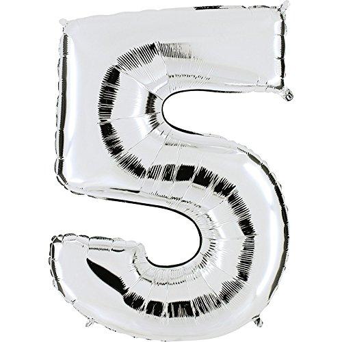 Ballon cijfer 5 in zilver - XXL reuzenaantal 100 cm - voor verjaardag jubileum & co - party cadeau decoratie folieballon luchtballon Happy Birthday