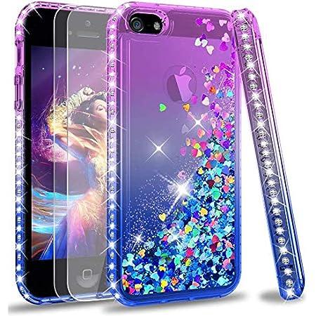 LeYi Coque pour Apple iPhone Se 2016, iPhone 5/5S avec Verre Trempé [Lot de 2], Fille Personnalisé Liquide Paillette Transparente 3D Silicone Gel ...