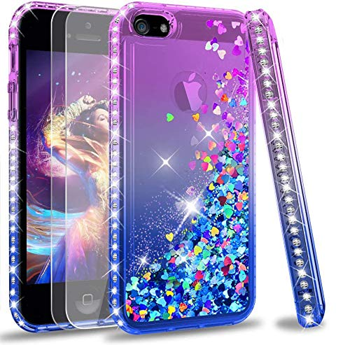 LeYi Custodia iPhone 5S / iPhone SE/iPhone 5 / iPhone SE 2 Glitter Cover con Vetro Temperato [2 Pack],Brillantini Diamond Liquido Sabbie Mobili Bumper Case Custodie Donna ZX Purple Blue Gradient