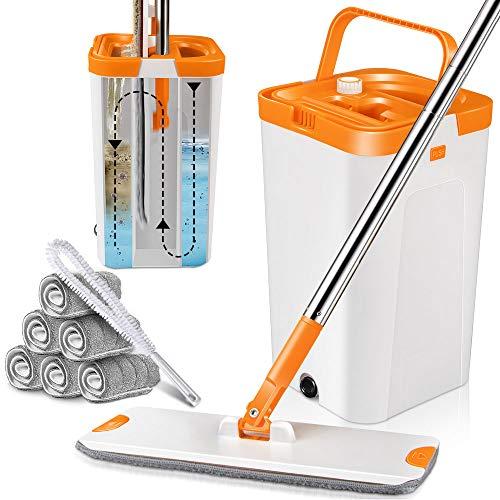 Mastertop Wischmopp Set mit Eimer, Bodenwischer mit 6 Wischmop Pads und 1 Lange Reinigungsbürste, Wischer mit auswringfunktion zum Waschen und Trocknen von Böden (Orange und Weiß)