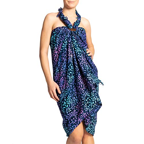 PANASIAM Sarong en colores oscuros, chal, toalla de playa, vestido envolvente, alta calidad, suave tela natural B806 Dropping Blue Talla única