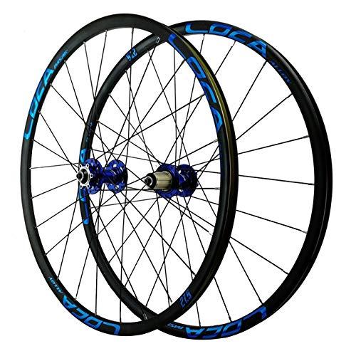 26/27,5 Pulgadas Rueda para Bicicletas,Pared Doble 4 Rodamiento Peilin Liberación Rápida Freno de Disco Juego de Ruedas de Montaña Deportes (Color : Blue, Size : 27.5in)