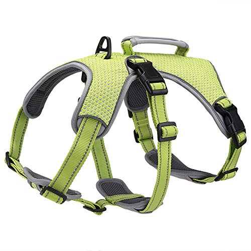 BELPRO Multi-Use Support Dog Harness, Escape Proof No Pull Reflective Adjustable Vest with Durable Handle, Dog Walking Harness for Big/Active Dogs (Green, S)
