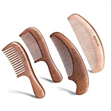 4 PCS Wood Comb, Anti-Static & No Snag, Massage Scalp Detangling Wide Tooth Comb Wood and Fine Tooth Hair Combs (2nd Generation, Thicken Wooden Comb ) for Women Hair and Men Beard By KEPCSIN