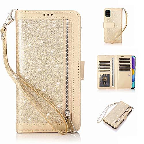 Nadoli Hülle für Samsung Galaxy A71 Handyhülle,PU Lederhülle Glitzer Magnetverschluss Kartenfächern Standfunktion Cover Brieftasche Flip Wallet Cover,Gold
