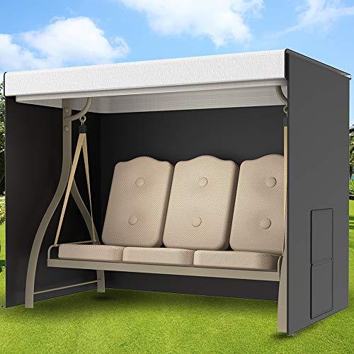 Funda para balancín de jardín de 3 plazas, impermeable, con bolsillo lateral, 220 x 125 x 170 cm, Oxford 210D, resistente a los rayos UV, exterior