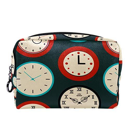 Bolsa de cosméticos Bolsa de Maquillaje para Mujer para Viajar Llevar cosméticos Cambiar Llaves, etc.,Textura con Relojes Redondos