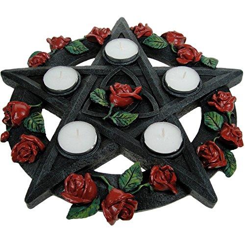 Nemesis Now. Teelichthalter in Pentagramm-Form, mit Rosendekoration