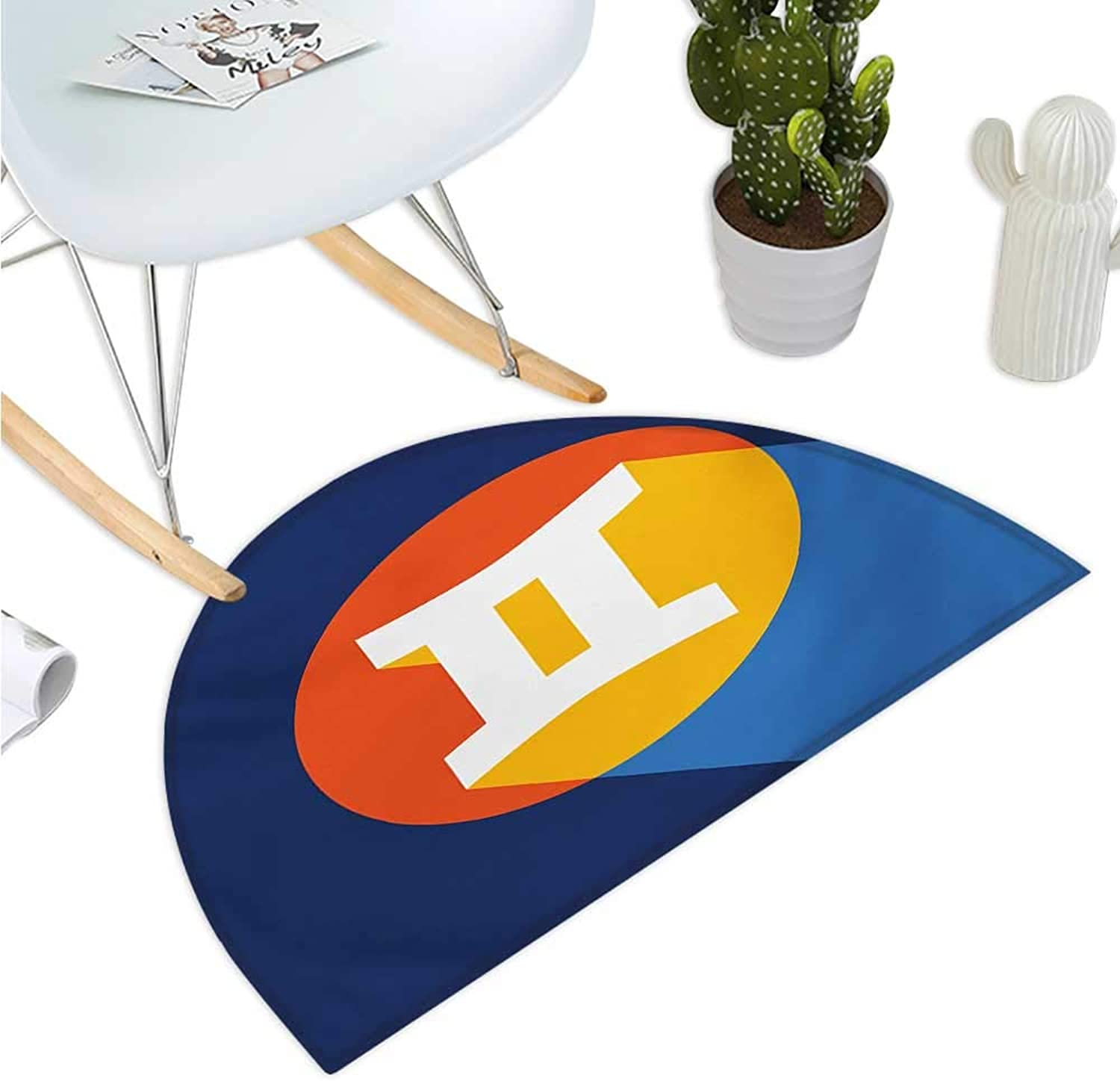 Zodiac Gemini Semicircular Cushion Hgoldscope Sign with colorful Graphic Design in a Circle on bluee Background Entry Door Mat H 51.1  xD 76.7  Multicolor