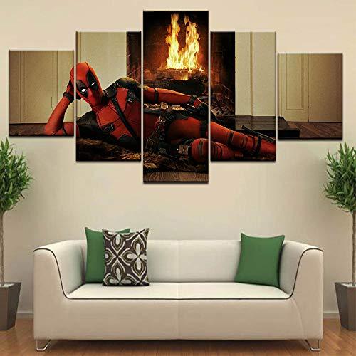 rkmaster-B Männer vs S Mann und Deadpool Moderne Wand Poster Leinwand Kunst Malerei 5 Panel HD Druck für Zuhause Wohnzimmer Decor