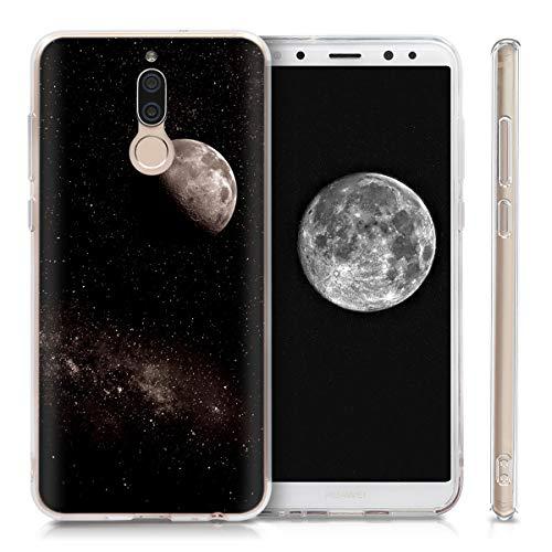 kwmobile Huawei Mate 10 Lite Hülle - Handyhülle für Huawei Mate 10 Lite - Handy Case in Mond Design Hellgrau Schwarz - 4