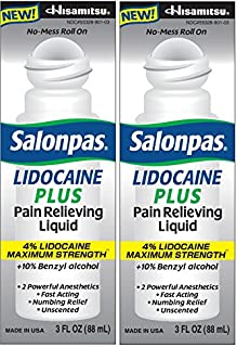 Salonpas LIDOCAINE PLUS 3 oz ROLL ON Pain Relieving Liquid! Maximum Strength 4% Lidocaine for Numbing Pain Relief! MESS FREE Application! (2 PACK)