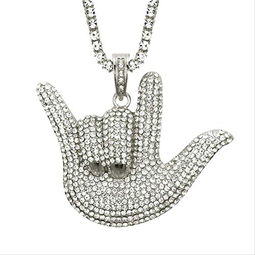 Hip Hop Rocker Jewelry Full Rhinestone Rock Gesture Ily Love & Peace Sign Hand Pendant Necklace For Men Party Gift 50cm