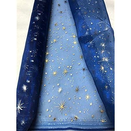 noir-argenté Beau tissu avec étoiles scintillantes 150cm