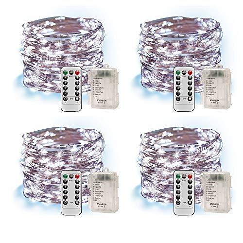 Led Lichterkette Batterie 5m Kupferdraht IP65 Wasserdicht Lichterketten mit Fernbedienung Innen Außen Fairy Lights für Zimmer, Party, Hochzeit, Weihnachten usw. (4 Stück/Kaltweiss)