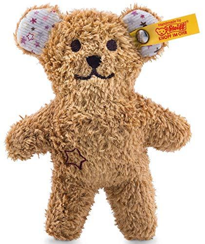 Steiff Mini Knister-Teddybär mit Rassel - 11 cm - Teddybär mit Rassel - Kuscheltier für Babys - weich & waschbar - braun (240669)