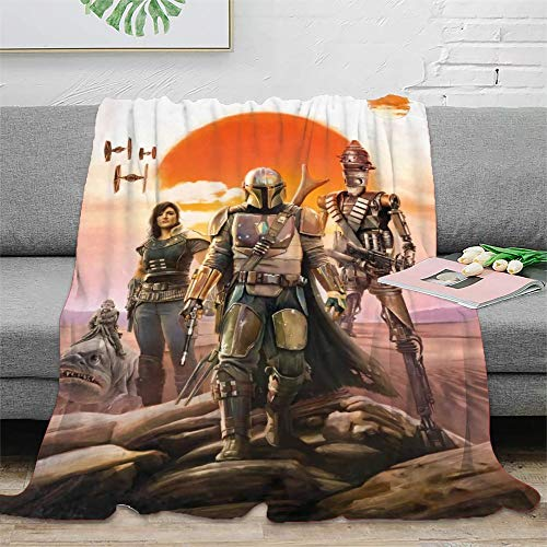 STTYE Las mantas personalizadas de Star Wars The Mandalorian se pueden utilizar como sábana de cama, manta de viaje, colcha de siesta diaria, incluso cojín de sofá. 180 x 230 cm.