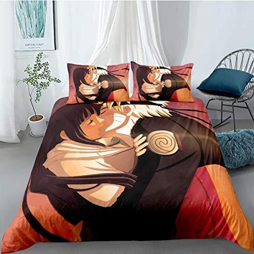 QWAS Naruto - Funda nórdica para hombre (125 x 200 cm, microfibra, 1 funda nórdica y 2 fundas de almohada)