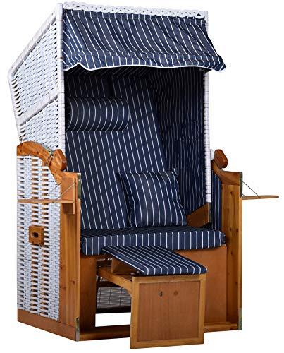 intergrill Strandschönheiten AVA Strandkorb Ostsee Single Vollholzfront außen weiß innen blau weiße Nadelstreifen Balkone Terrassen Garten Lounge