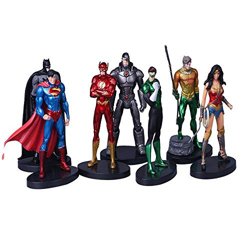 7X DC Liga De La Justicia Superman Batman Wonder Woman Acción Figuras Niños Conjunto De Juguete Multi-colored-high13cm