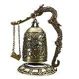 ZSHENG Templo de Budismo de latón de Cobre dragón Campana del Reloj Tallado Estatua de Buda Lotus Budismo Artes Estatua del Reloj Decorativo del hogar Artesanía