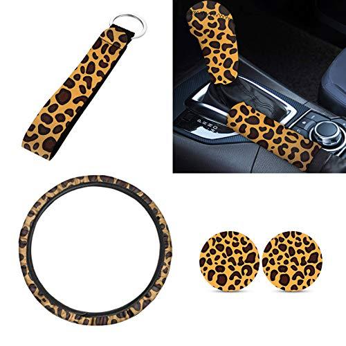 Sapotip Leopard 6 accesorios de auto con cubierta de volante de coche, posavasos interior, llavero de pulsera, barra de transmisión y cubierta de freno, regalo elegante para mujer