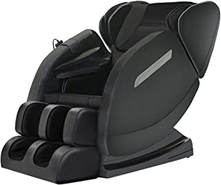 Massage Chair Recliner with Zero Gravity, Full Body Air Pressure, Bluetooth, Heat and Foot Roller Included, Black