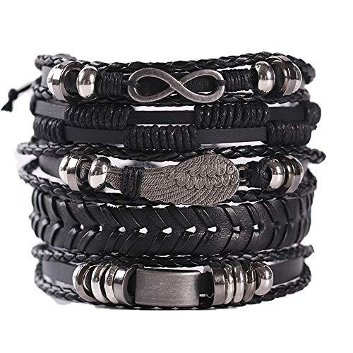 Geflochtenes Lederarmband,5 STÜCKE Geflochtene Leder Armbänder für Herren Damen Punk Seil Armband Manschette Vintage Armbänder Wrap Set, Einstellbar für Männer Frauen.