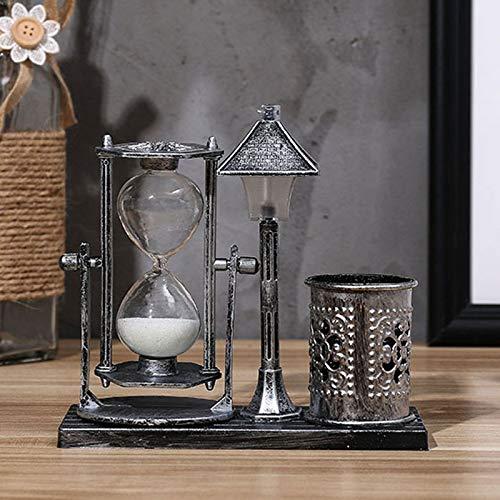 LPing Temporizador de Reloj de Arena de Mesa Vintage con portalápices Reloj de Arena Temporizador de Cuenta Regresiva Decoración de Escritorio con luz Nocturna,5.5 * 6.1in