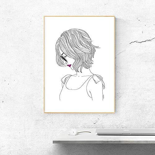 Canvasdruk Abstract slaapkamer vrouwen schetsen tekening Noordse stijl moderne rode lippenstift druk canvas schilderij muurkunst wooncultuur zwart metaal