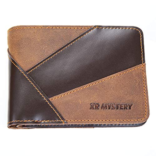 XR MYSTERY Wallet for Men Slim Bifold Genuine Leather Front Pocket Wallets Two Color Stitching Retro Men's Wallet With ID Window and RFID Blocking Money Clip