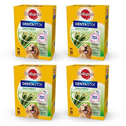 Pedigree Dentastix Fresh 112 Snack per la Igiene Orale (Cane Grande 25 kg) 270 g 28 Pezzi - 4 Confezioni da 28 Pezzi (112 Pezzi totali)