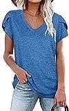Primavera y Verano Color sólido Cuello en V Manga de pétalo Camiseta de Manga Corta Cobertura Suelta Top Casual Ropa de Mujer