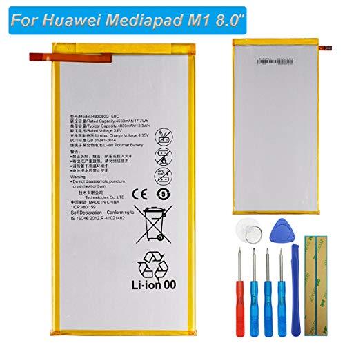 E-yiiviil Batería de repuesto HB3080G1EBC compatible con Huawei MediaPad T3 10/Mediapad M3 lite 8.0 EE Eagle S8-301L S8-301U S8-301w S8-303L con herramientas
