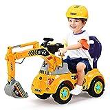 GOPLUS Jouet de Excavatrice pour Enfant, Excavatrice Tracteur, Jouet d'Imitation Tracteur de Construction d'Excavatrice avec Casque, pour 3-5 Ans