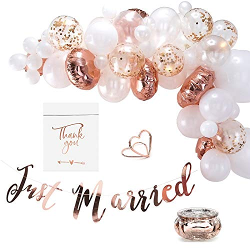 Miss Lovely 91-delig XXL Bruiloftsdecoratieset JUST Married rosé-goud & wit - bruiloftsdecoratie tafeldecoratie luchtballonnen slinger tafelkaartenhouder candy-bar zakken & theelichthouder