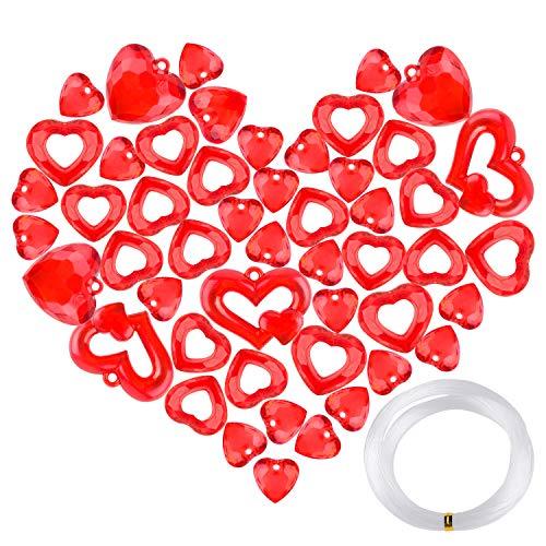 TUPARKA 59 PCS Adornos de corazón de Cristal acrílico Decoración de corazón de acrílico Etiquetas de Regalo Etiquetas de corazón Rojo para el Suministro de Fiesta de San Valentín