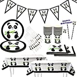 Panda Party Supplies Set,Party Tableware for Kids-Serves 20 Guests-Includes Table Cloth Cake Topper Banner...