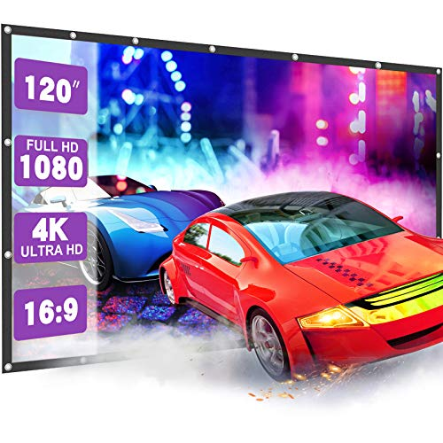 Projector Screen 120 inch Projector Screen 4K HD, 16:9 Outdoor Projector Screen for Outdoor Movies Portable Projector Screen Projector Screen, Movies Screen for Home Theater
