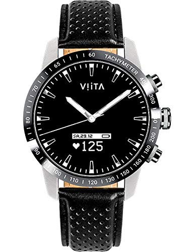 Viita Watch Hybrid HRV Tachymeter mit Leder-Armband, Silber/schwarz